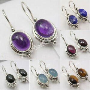 925-Sterling-Silver-Genuine-Gemstones-Earrings-Affordable-Wedding-Jewelry-NEW