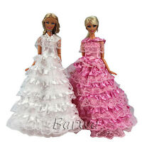 2 Princess Evening Wedding Party Clothes Dress Wears Outfit For Barbie Doll Gift