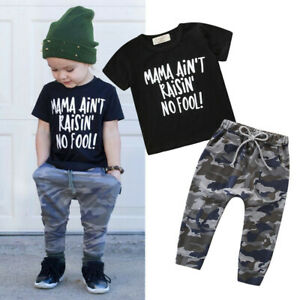 Toddler-Kids-Baby-Girls-Boys-Outfits-Letter-T-shirt-Tops-Camouflage-Pants-Set