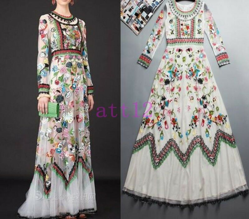 New Women's Embroidered Flowers Long Sleeve Vintage Party Beach Tulle Long Dress