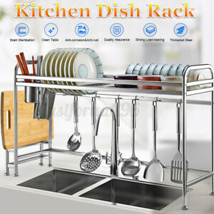 Over the Sink Dish Rack Kitchen Storage Drying Cutlery Drainer Holder Space Save