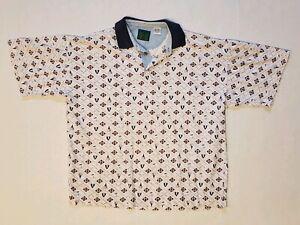 Vintage-90s-Golf-All-Over-Print-Bugle-Boy-Short-Sleeve-Polo-Shirt-Men-Medium