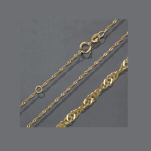 Baby Kinder Singapur Hals Kette Echt Gold 585 Collier Vario Länge 40 38 cm