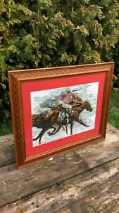 Embroidery Antiques Have An Inquiring Mind Beautiful Vintage Framed Glazed Embroidered Cross Stitch Horse And Jockey *