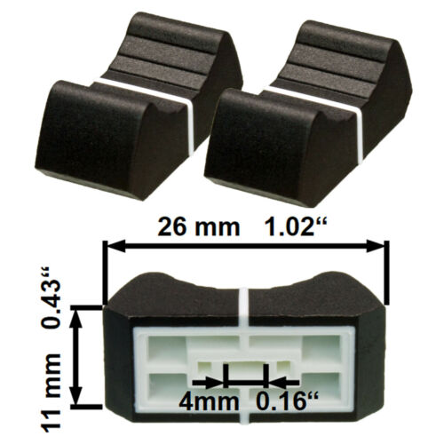 NEU 2 Prof Faderknopf SCHWARZ 4mm Fadercaps Faderkappen Caps  Mischpulte Mixer