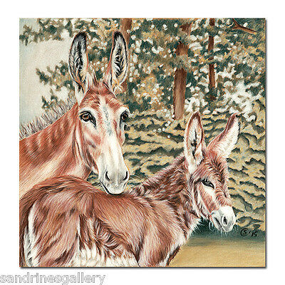 "Donkeys Jenny Foal Mule Ane Painting Pencils Sandrine Curtiss Original Art 8x8"" Art Drawings"