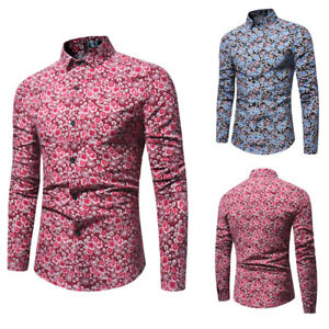 Men-039-s-Floral-Cotton-Casual-Shirt-Flower-Printed-Long-Sleeve-Luxury-Dress-Shirts