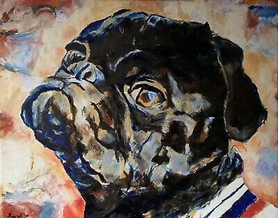 dog portrait pug art Tan pug gift signed  Ltd tan pug portrait Tan Pug painting Ed dog print pug picture pug painting