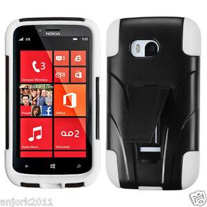 new concept a8fa4 91030 Details about Nokia Lumia 822 Verizon Y Armor Hybrid Case Skin Cover w/  Stand Black White