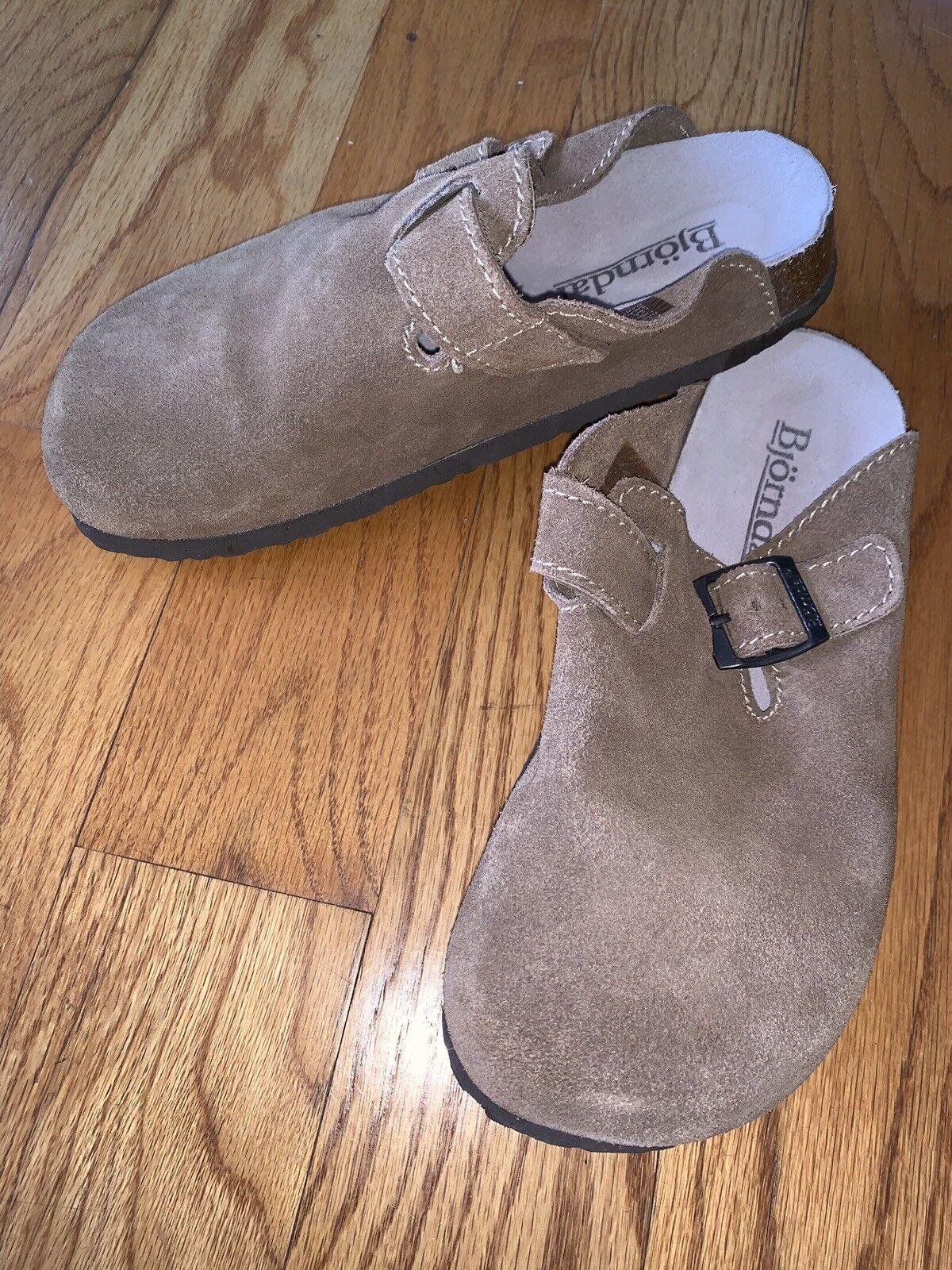 NWOT Bjorndal Sz 7B Buckle marron Leather Harvard Slide-On Clogs NEW chaussures
