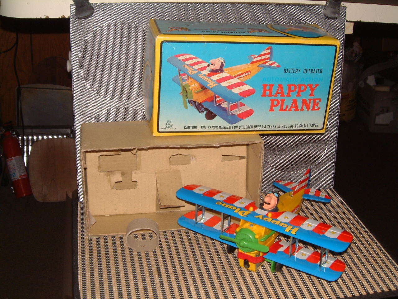 TPS VINTAGE BATTERY BATTERY BATTERY OPERATED HAPPY PLANE PERFECTLY WORKING W ORIGINAL BOX T.P.S. f028ea