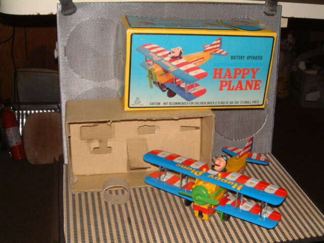 TPS VINTAGE BATTERY OPERATED HAPPY PLANE PERFECTLY WORKING W/ORIGINAL BOX T.P.S.