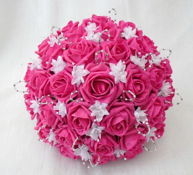 Brides Posy Bouquet Hot Pink Roses White & Silver Artificial Wedding ...
