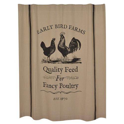 New Primitive EARLY BIRD FARMS Rooster Chicken Black Tan Fabric Shower Curtain
