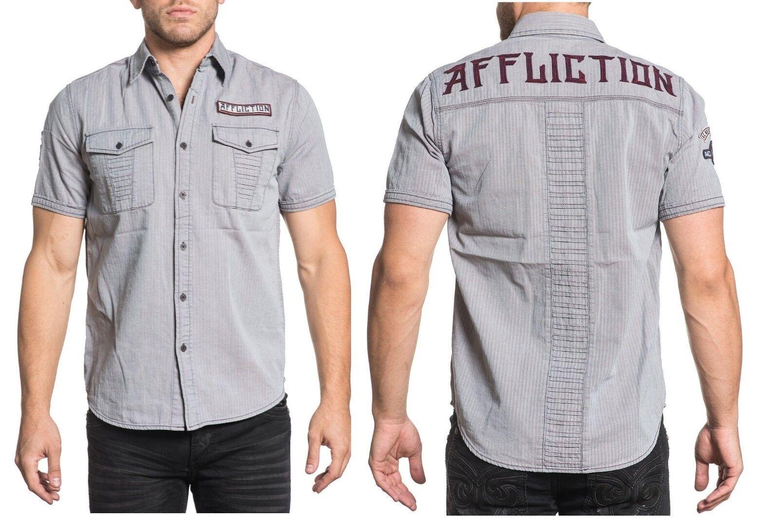 NEW AFFLICTION MEN'S TRIBBETT LOGO VINTAGE WOVEN CASUAL DRESS SHIRT TOP