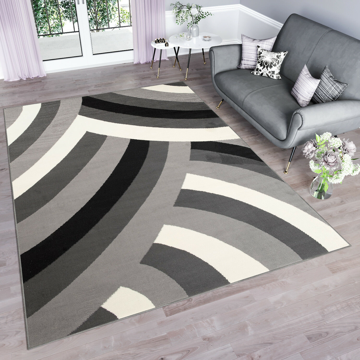 grau Modern Rug Interior Design for Bedroom Living Room Room Room Abstract Wave Pattern adbc91