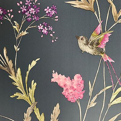 Navy Blue with Glitter Detail Hummingbirds Floral Trailing Wallpaper - 10m Roll