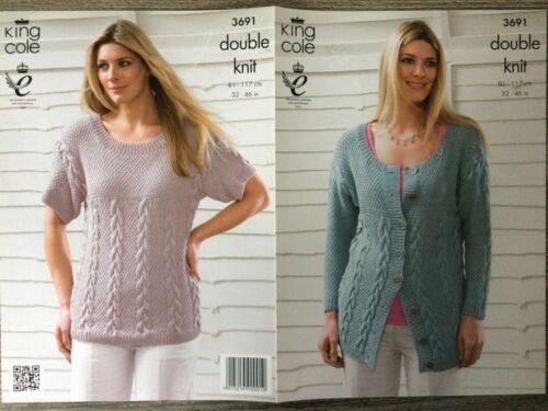 """32-46/"""" 3691 King Cole Knitting Pattern: Ladies Sweater /& Cardigan DK"""
