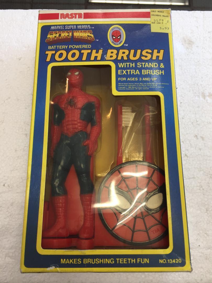 1984 NASTA Marvel Super Heroes Secret Wars TOOTHBRUSH (Spider-Man)