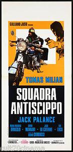 SQUADRA ANTISCIPPO LOCANDINA CINEMA FILM TOMAS MILIAN HONDA 1976 PLAYBILL POSTER