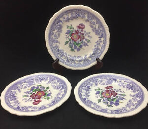 Image is loading Spode-Mayflower-Salad-Plates-set-of-3-Beautiful- & Spode Mayflower Salad Plates (set of 3) - Beautiful Floral Center ...