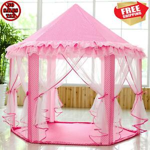 Image is loading Big-Pink-Girls-Princess-Castle-Tent-with-Large-  sc 1 st  eBay & Big Pink Girls Princess Castle Tent with Large Star Lights LED ...