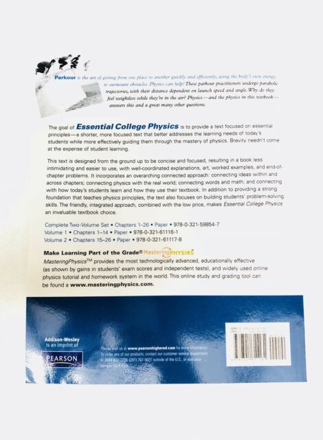 Essential College Physics Vol  1 by Andrew F  Rex and Richard Wolfson  (2009, Paperback)