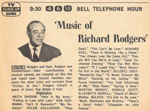 1961 TV AD'S~MUSIC OF RICHARD RODGERS~BELL TELEPHONE HOUR~RODGERS & HAMMERSTEIN