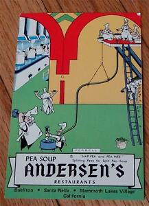 Vintage Color Advertising Postcard, Andersen's Restaurants, Pea Soup, VG COND