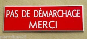 """Plaque Gravée """"pas De Demarchage Merci"""" Format 50 X 150 Mm Boq8gaxz-07232012-828849118"""