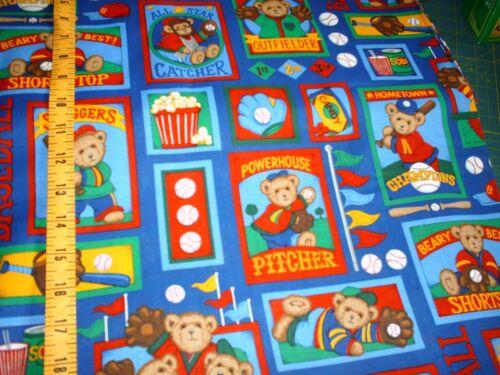 Baseball Bear allover on Blue Quilt fabric 1 yard