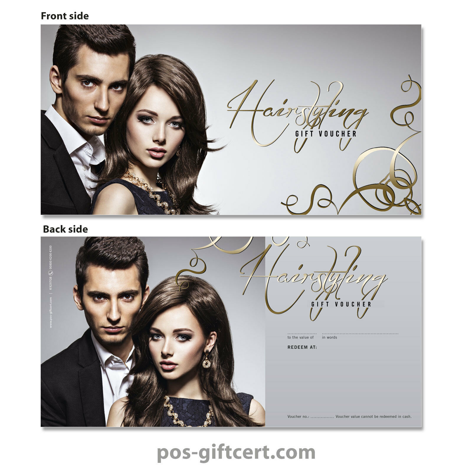 Gift vouchers for hair salons, hairdressers, hairstylists K9297GB  | Verschiedene Arten Und Die Styles  | Sonderaktionen zum Jahresende