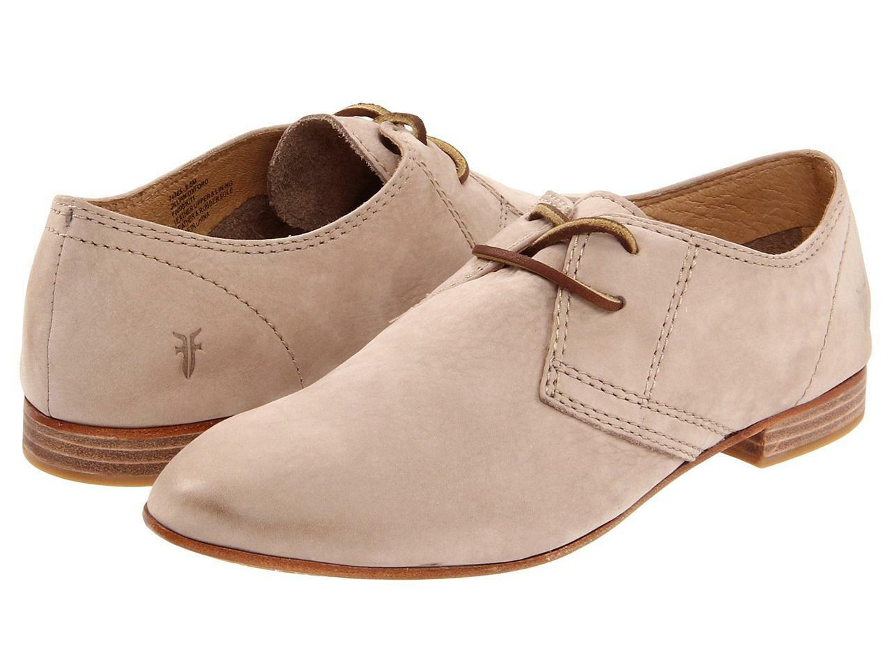 Frye Women's Jillian Oxford Taupe Lace Up Casual shoes Nubuck Beige Suede Leather
