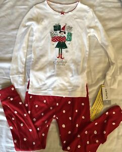 "2794346bf3bb Details about NWT Carters Toddler Girls Christmas ""Santa's Helper"" 2 Pc  Pajama Set Sz 4T"
