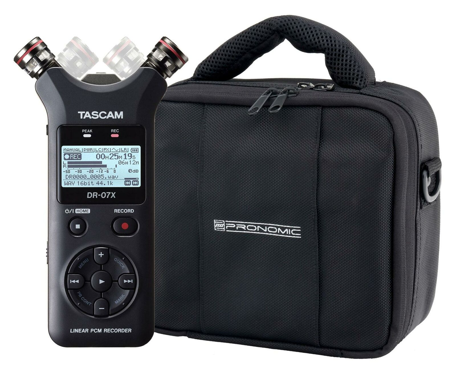 Tascam DR-07X Digitalrecorder Set Stereo USB Interface Kondensator Mikrofon Bag