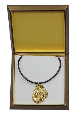 100% QualitäT Langhaarcollie - Vergoldet Halskette Mit Einem Hund In Einer Box Art Dog De Diversifiziert In Der Verpackung