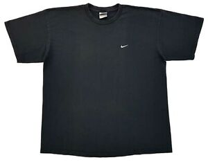 Vintage-Nike-Embroidered-Mini-Swoosh-Logo-Tee-Black-Size-XL-Mens-T-Shirt