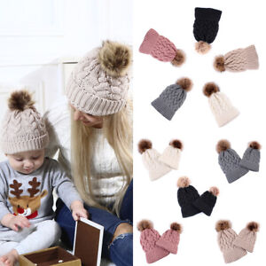 Kind-Hearted 2 Pcs Mother Kids Child Baby Warm Winter Knit Beanie Fur Pom Hat Crochet Ski Cap Cute 5 Colors Girl's Accessories
