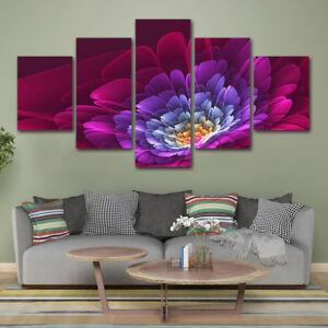 3D Lotus Flower Blossom Luminous 5 Panel Canvas Print Wall Art Poster Home Decor