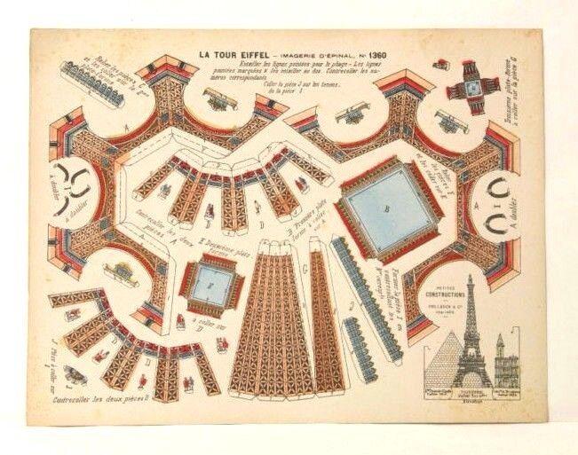 Imagerie d'epinal no 1360 la Tour Eiffel, construcciones de papel de Juguete Modelo petites