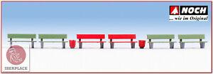 H0-escala-1-87-ho-figuras-modelismo-maqueta-trenes-Noch-14848-bancos-bancs-bench