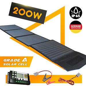 200W 12V Solar Mat Flexible Folding Solar Panel Blanket Generator Camping Power