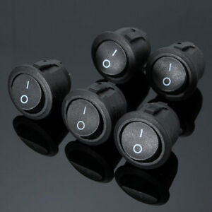 5pcs-2-PIN-ON-OFF-SPST-Round-Dot-Car-Boat-Rocker-Toggle-Switch-Waterproof-Cover