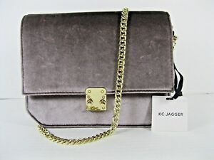 KC-Jagger-NWT-Clutch-Crossbody-Taupe-Flap-Push-Squeeze-Lock-Close-Gold-Chain-X