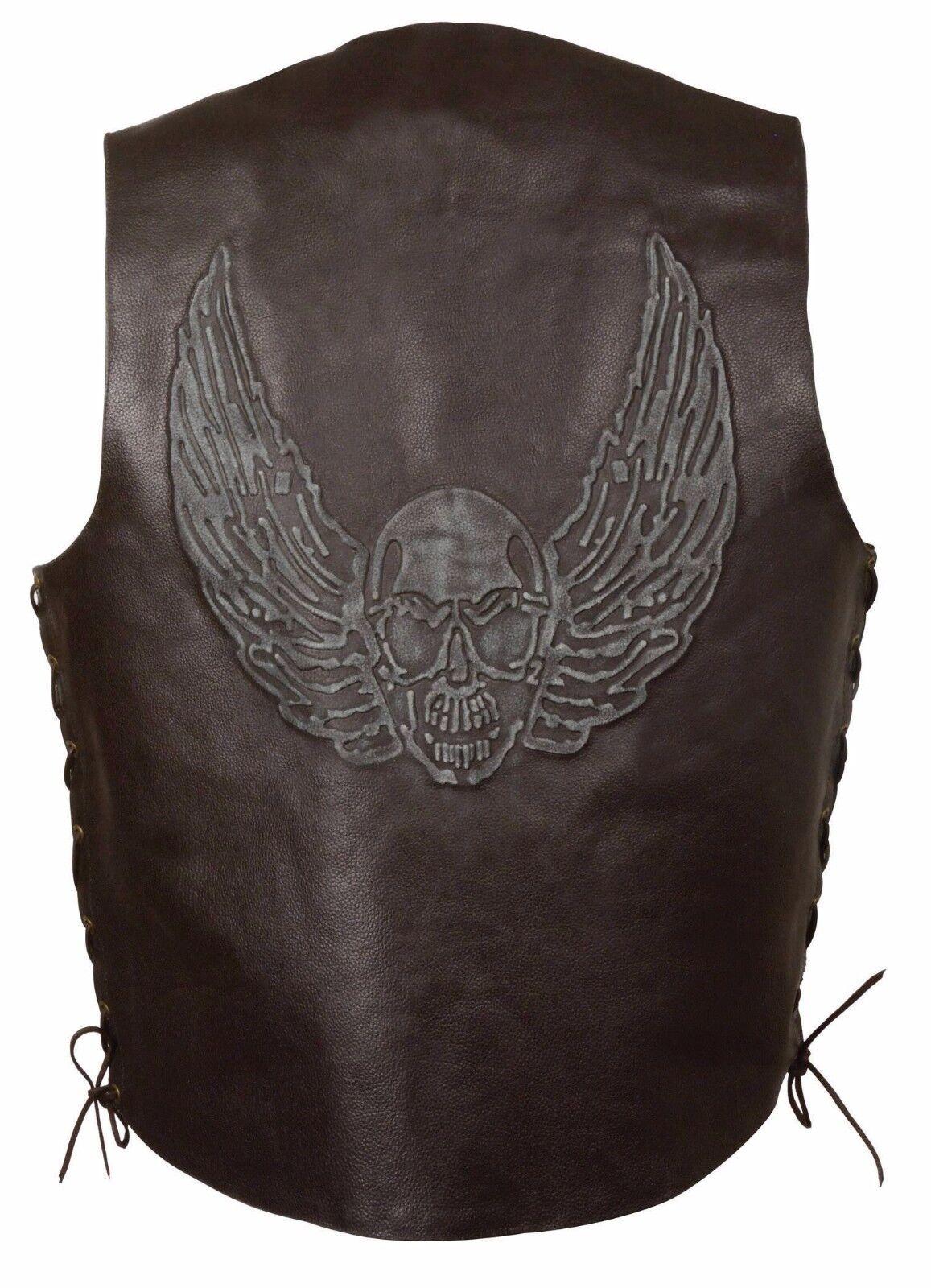 Herren Braun Solid Leder Vest w Embossed Winged Skull
