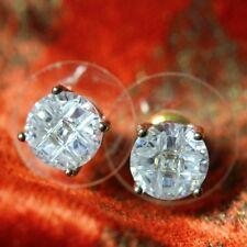 Boucles d`Oreilles Zirconium Rond Brillant Classique Soirée Mariage Cadeau G1