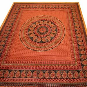 Tagesdecke-Bettueberwurf-Rajasthan-Classic-Baumwolle-Indien-Dekotuch-Orange-10