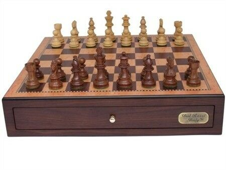 "Dal Rossi Italy, Chess Box with Drawers 18"" (Walnut Finish) with 85mm Wooden Dou"