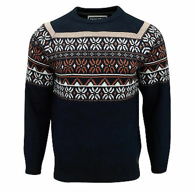 Soul Star Men's Venzy Nordic Knitted Jumper Navy