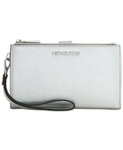 Michael-Kors-Double-Zip-Wristlet-Silver-Womens-Clutch-Bag